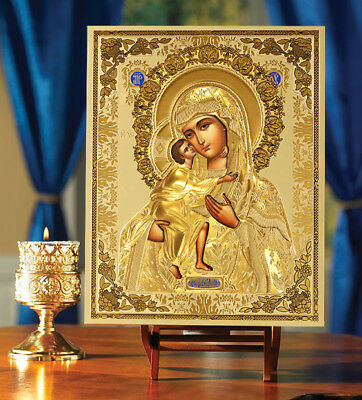 Gold Embossed Madonna and Child Jesus Christ RUSSIAN ICON 10 INCH WOW!!!