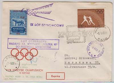 B0943: Poland #919 on 1960 Olympic Cover with Label