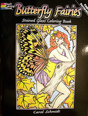 BUTTERFLY FAIRIES Stained Glass Coloring Book by Carol Schmidt New