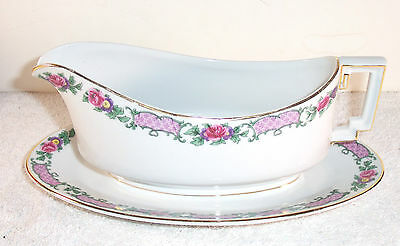Heinrich Selb Bavaria Imperial Gravy Boat w/Underplate Hc66 Pink Purple Flowers