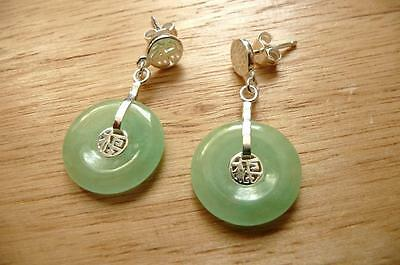 925 STERLING SILVER GREEN JADE DONUT SHAPED BUTTERFLY BACKS DROP EARRINGS