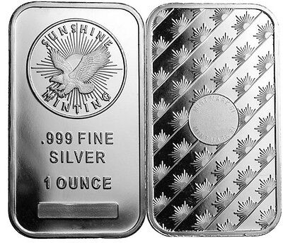 1 Troy ounce sunshine minting silver bar sealed 999 Fine Silver . Ships next day