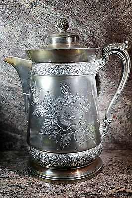 Middletown Plate Co. Water Pitcher Quadruple Silver Plate Hard White Metal #470