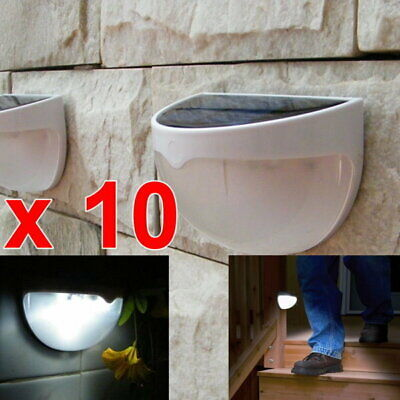 10 x Solar LED Outdoor Wall Fence Yard Stair Mount Pathway Garden Light