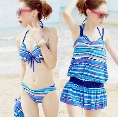 Bikini Set Striped Underwire Removable Pads Women Swimdress Swimwear Swimsuit M