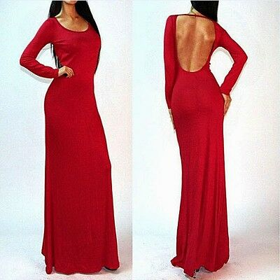 Sexy Scoop Neck Open Back Womens Maxi Full Length Evening Party Dress Stretch L