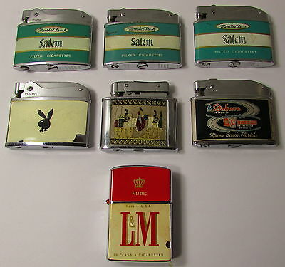 7 VINTAGE ADVERTISING TOBACCO LIGHTER MIXED LOT COLLECTION, SALEM, L&M, PLAYBOY