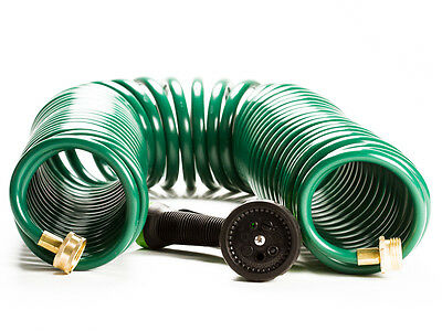 Expandable Water Garden Hose – 50 Ft Coil Hose w/ 7 Function Water Nozzle