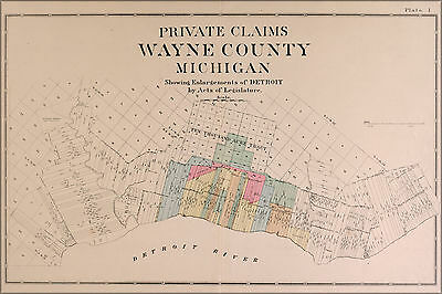 24x36 Poster; Map Of Wayne County And City Of Detroit 1891; Antique Reprint