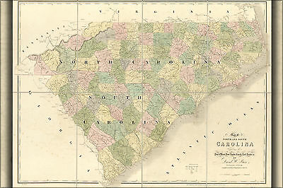 24x36 Poster; Map Of North And South Carolina 1839; Antique Reprint