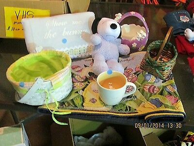 Easter Decorative Items - Lot of 7 Items: Table Runner, Stuffed Snoopy, Baskets