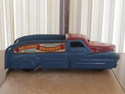 Vintage Marx Delivery Service Truck Wind Up Pressed Steel NICE!