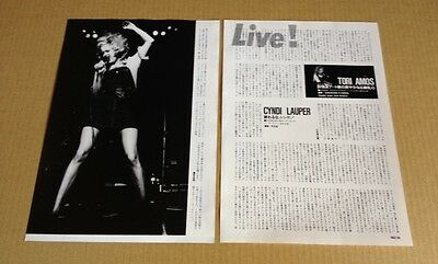 1995 Cyndi Lauper Tori Amos 2pg 2 photo live in JAPAN mag report / clippings c2r