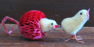 VINTAGE LOT OF 2 SPUN COTTON CHICKS EASTER JAPAN PAPER