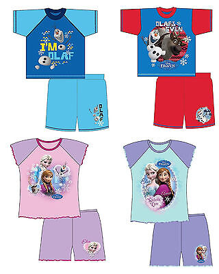 GIRLS BOYS KIDS DISNEY FROZEN ELSA ANNA OLOF SHORTIE PYJAMAS NIGHTWEAR 12mths-4