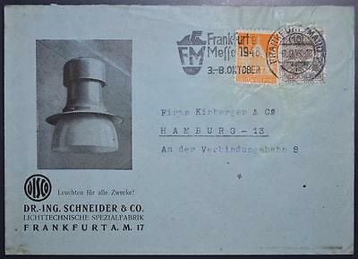 GERMANY 1948 Mix Franking on DISCO Lamp Co Pic Cover FRANKFURT to HAMBURG ,EXPO