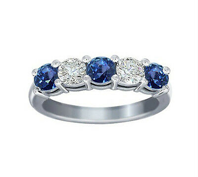 1.00 Ct Round Cut Diamond And Blue Sapphire Wedding Band Ring In Platinum
