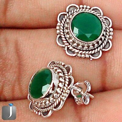 7.76cts GREEN EMERALD QUARTZ 925 STERLING SILVER STUD EARRINGS JEWELRY E31273