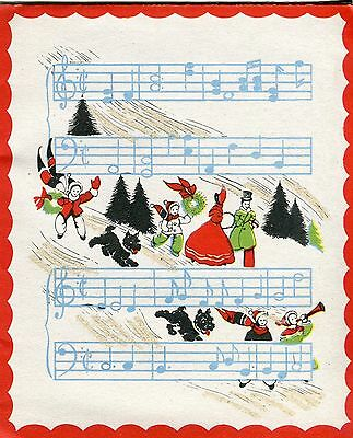 Vintage Christmas Card: Victorian Scene with Scotties & Musical Staff _ Glitter