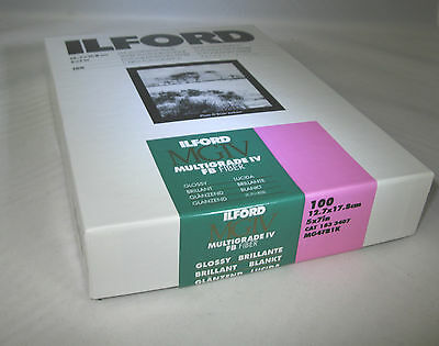 """Ilford Multigrade FB Gloss Variable Contrast Paper 5"""" x 7"""", 100 Sheets Sealed"""