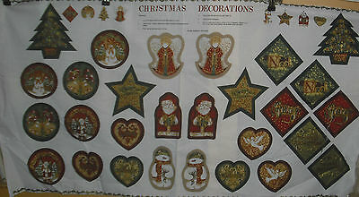 Victorian Christmas Ornaments Panel Quilt Fabric - byDavid Textiles  2/3 yds