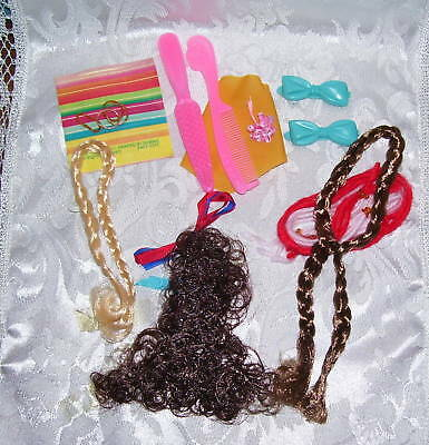 Vintage BARBIE FRANCIE HAIR PIECE LOT BRUNETTE & BLONDE COMPLETE UNPLAYED WITH