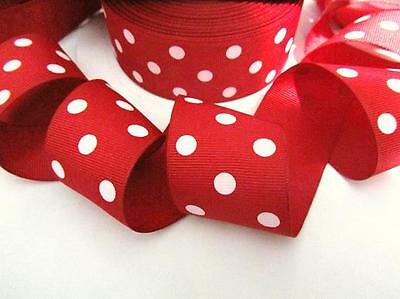 """50 yards Red/White Grosgrain 1.5"""" Ribbon POLKA DOTS/Polyester/Craft R20-M-Roll"""