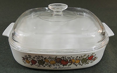 Corning Ware Spice Of Life A-10-B Casserole Baking Pan Dutch Oven Dome Pyrex Lid