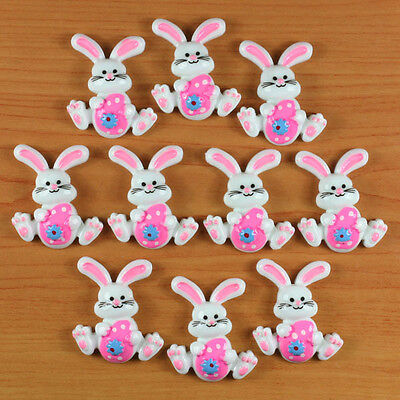 Bulk 10pcs Rabbit Bunny with Pink Easter Eggs Resin Flatbacks Hair Bow Craft DIY