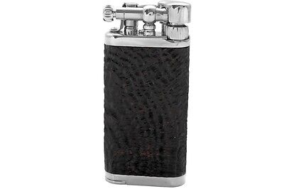 Im Corona Chrome Plated Brass/ Sandblasted Briar Shell Old Boy Pipe Lighter *New