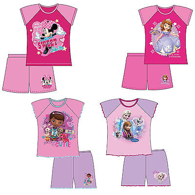 GIRLS KIDS DISNEY FROZEN ELSA SOFIA MINNIE DOC SHORTIE PYJAMAS NIGHTWEAR 12m-5y