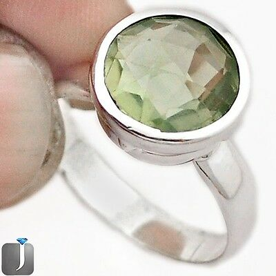4.36cts NATURAL GREEN AMETHYST 925 STERLING SILVER RING JEWELRY SIZE 7 F23643