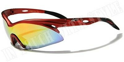 XLoop Mens Sunglasses Cycling Sports Wrap Around Shield Red Frame XL129