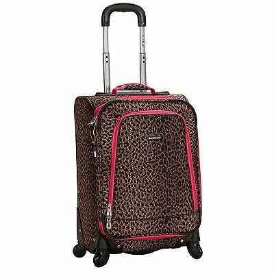 Rockland 20-inch Expandable Carry-On Spinner Upright - Pink Leopard