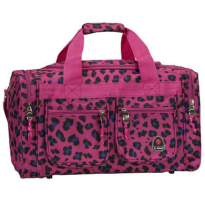 "Rockland Bel-Air 18"" Carry-On Tote Duffle Bag - Magenta Leopard"