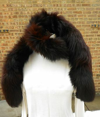 Stunning Vintage Chestnut Brown/Red FOX  Fox Tail FUR/TAIL Fling Boa 65""