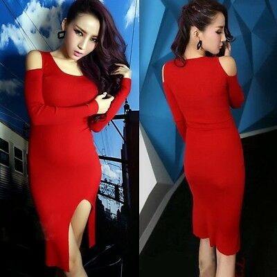 Sexy Cut-out Crew Neck Package Hip Womens Stretch Bodycon Knitting Dress Slit M