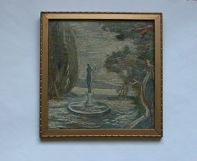 1930s HAND-EMBROIDERED PICTURE GARDEN STATUE IN THE MOONLIGHT