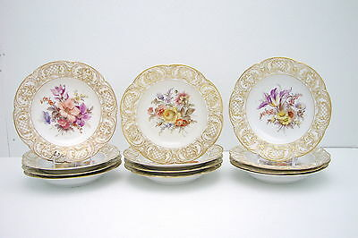 Set of 12.  KPM Second Soup Bowls Hand Painted Gold & White with Floral Pattern