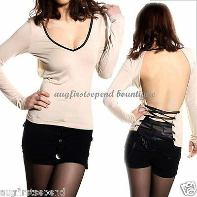 Womens Deep Low V-neck Sexy Backless Strapes Lace-up Clubwear Tee T-shirts Tops