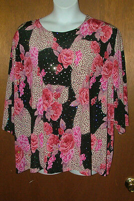 "NWT Beautifully Embellished Pink Roses on Black ""Maggie Barnes"" Top, Size 5X"
