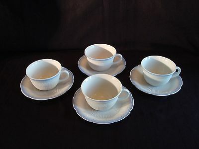 4 Mint Fire King Vitrock Alice with Blue Trim Cup & Saucer Sets 8 Pieces Total