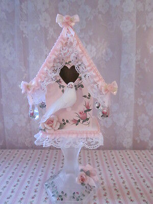 shabby n sweet hp pink n porcelain roses petite cottage birdhouse lace trim