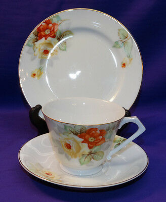 VINTAGE NORITAKE CHINA TEA CUP TRIO SET CUP, SAUCER, DESSERT PLATE YELLOW ROSES