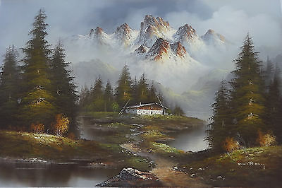 CHATEAU IN SWISS ALPS HQ Sofa Size Oil Painting on Canvas by K. Boxy