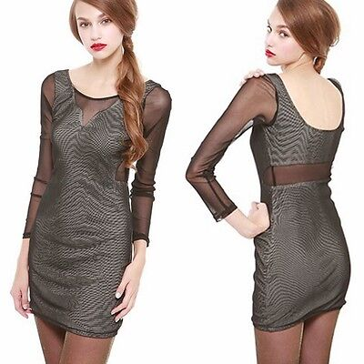 Sexy Scoop Back Mesh Patchwork Package Hip Womens Stretch Bodycon Mini Dress Top