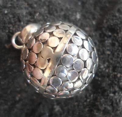 925 Sterling Silver Harmony Ball Musical Pendant Carved Size 18mm