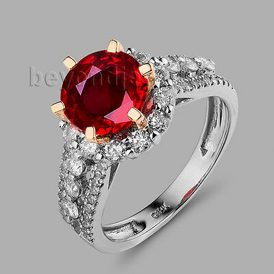 Solid 18Kt Two Tone Gold Genuine Natural Diamond Blood Ruby Engagement Ring