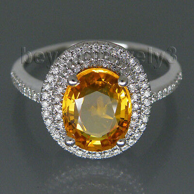 Solid 14K White GOLD Natural Gorgeous Yellow Sapphire Diamond Engagement Ring