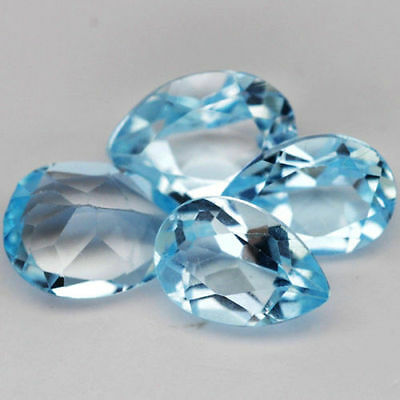 A PAIR OF 6x4mm PEAR-FACET SKY-BLUE NATURAL AFRICAN TOPAZ GEMSTONES
